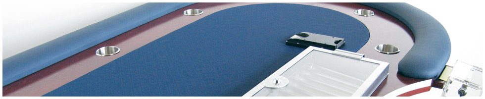Pokertisch: Rail Cerulean, Racetrack Red Mahogany, Playing Surface Navy